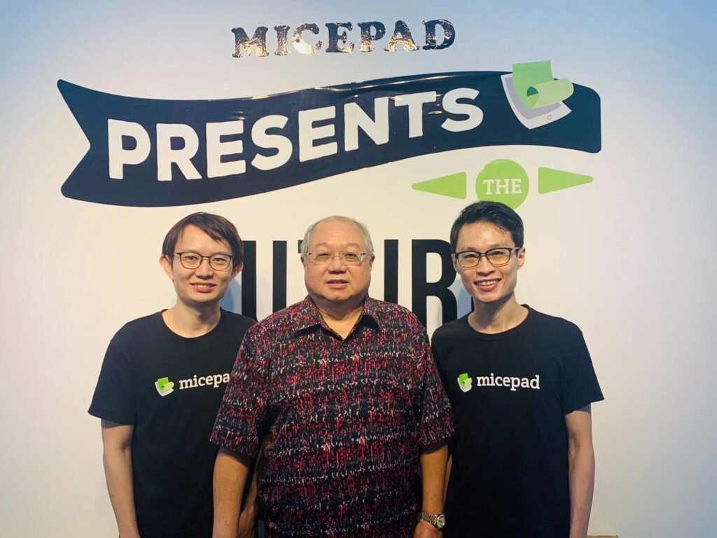 Chairman of Heliconia Capital Lim How Teck with Micepad Jie Hao Tan and James Gwee